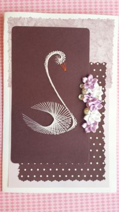 What a beautiful gift card this would make to the newly married couple......  Embroidered swan card by BarleyCreations on Etsy, $5.50