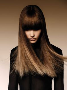 Blunt Fringe Cut and Ombré Color from Angelo Seminara - Step-By-Step - Cut & Color diagrams New Long Hairstyles, Hairstyles With Bangs, Pretty Hairstyles, Straight Hairstyles, Curly Haircuts, Long Hair With Bangs, Long Hair Cuts, Hair Bangs, Straight Bangs