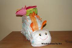 diaper cake, diaper snail *  Windelschnecke 'Löffelfühler' von Windeltorten By Evi auf DaWanda.com