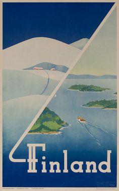 DP Vintage Posters - Finland Winter Summer Original Travel Poster