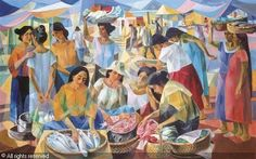 Tiangge (Market scene) sold by Christie's, Hong Kong - Vicente Manansala