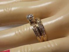 1970s Diamond Wedding Set .11Ctw Yellow Gold by estatejewelryshop, $450.00