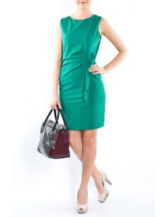Rochie falduri lateral 2481 Verde  Brand: Moda Fashion Dresses For Work, Fashion, Moda, Fashion Styles, Fashion Illustrations
