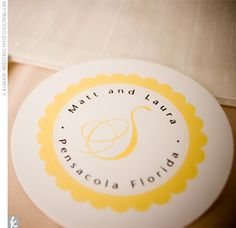 I like the idea of having this as the menu in the center of the plate. Fun design/logo on the front, menu on the back.
