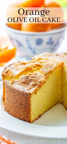 Olive Oil Cake Discover Orange Olive Oil Cake - Saving Room for Dessert Our easy-to-make Orange Olive Oil Cake has a light fine textured luscious crumb and a crackly sugar topping for added sweetness. Köstliche Desserts, Delicious Desserts, Dessert Recipes, Health Desserts, Brunch Cake, Breakfast Cake, Orange Olive Oil Cake, Orange Cake Recipe Oil, Italian Orange Cake Recipe