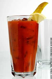 Bloody Bull - vodka, tomato juice, Beef Boullion, lemon juice, tabasco sauce, black pepper and salt.