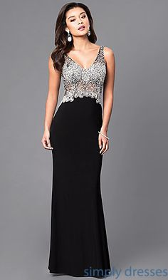 Shop long formal dresses with v-necks at Simply Dresses. Sleeveless evening dresses in misses and plus sizes with beaded sheer-illusion bodices.