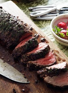 Marcus Samuelsson's Roast Beef Tenderloin Recipe, a. roast beef tenderloin with a coffee-chocolate crust. Side Dish Recipes, Meat Recipes, Cooking Recipes, Recipes Dinner, Game Recipes, Dinner Entrees, Grilling Recipes, Beef Dishes, Food Dishes