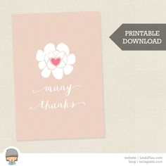 Printable Greeting Card Soft Floral Many Thanks