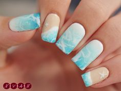 I refuse to believe that summer is almost over so I did this design in protest of fall. Really love how the water turned out; it's the water spotted technique with white polish over a white to blue gradient. Awesome! - Nailpolis: Museum of Nail Art