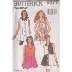 Misses Top Butterick Sewing Patterns 6077 (Size: 6-8-10)