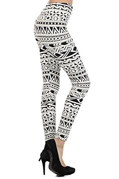 e88a67e7139bd Black White Tribal Geometric Graphic Print Pattern Leggings Pants One Size  >>> You can