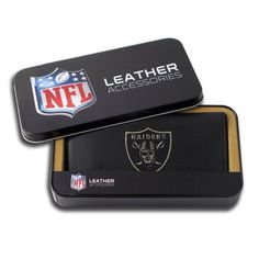 NFL Oakland Raiders Embroidered Checkbook by Rico. $25.00. Team logo embroidered with quality stitching. leather. Genuine leather checkbook embroidered with team logo. ID window and credit card pockets. Genuine cowhide black leather. NFL Oakland Raiders Embroidered Checkbook