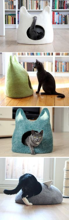 d6f2f2b109 Cat bed cave from natural white felted wool. Warm and comfy pet bed. Cat  lovers gift