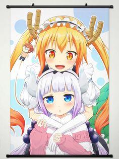 Wall Scroll Poster Fabric Printing for Anime Miss Kobayashi's Dragon Maid Tooru & Kanna Kamui