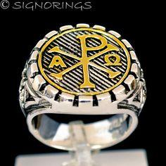 18K Gold Chi Rho Masonic Knights Templar Sterling by signorings