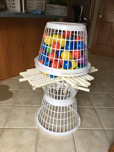 Giant Kerplunk game made from dollar store laundry baskets pvc and ball p - Kinderspiele Youth Games, Games For Kids, Games To Play, Family Game Night, Family Games, Family Activities, Diy Games, Party Games, Free Games
