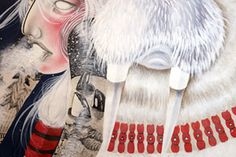 Women are usually the main subjects of Chelsea Brown's works as well as Native American culture. She combined those two strong influences to create portraits of women who draw their power from the nature and are able to thrive on it. These beautiful warrior princesses are represented alongside polar bears and wolves wearing bones and skins as psychic talismans.