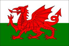 Y Ddraig Goch, the Welsh Dragon, Wales' national flag