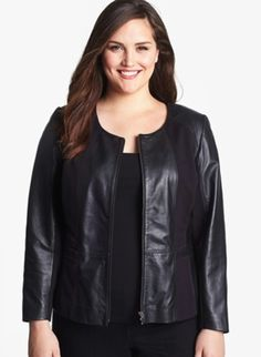 Sejour Plus Size Black Leather Jacket. Hot! My eldest would hate the boxy cut, but it's just what I need to disguise my apple shape a bit.