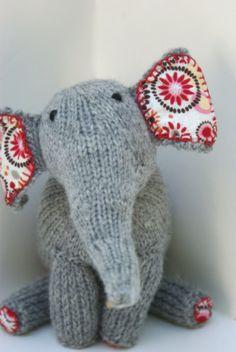 Light Gray Wool Handmade Knit Toy Elephant