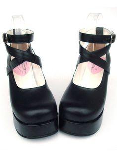 3'' Heel With 1.4'' Platform PU Black Cross Straps Lolita Shoes - Milanoo.com