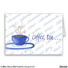 Shop Coffee, Tea or Me? Blank Cards, I Card, Coffee Shop, Whimsical, How To Draw Hands, Tea, Tableware, Postcards, Stamps