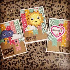 Create a critter cricut cards rainbow cloud sun love birthday handmade card