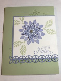 Flourishing Phrases with Pistachio Pudding and Almost Amethyst. Inspired by Tammy Shaia **photo only Pistachio Pudding, Flourishes, Flower Cards, Scrapbooks, Thank You Cards, Stampin Up, Card Ideas, Amethyst, Projects To Try