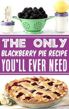 Blackberry Pie Recipe with Easy Homemade Filling! Making your own berry pie is so much easier than you think! And the fresh, juicy blackberries send it over the top! Go grab the recipe and give it a try this week! Easy Summer Desserts, Easy Summer Meals, Fun Desserts, Summer Recipes, Delicious Desserts, Easy Pie Recipes, Fruit Recipes, Crockpot Recipes, Dessert Recipes