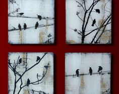 Black Bird Set of 4 Handmade Glass and Wood Wall by tzaddihome