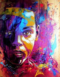 Beautiful use of colours here - rather than using natural skin colour shades for the person's face, the artist uses a spectrum of colours that adds a lot more excitement to the artwork - it is no longer just the every day person we see walking along the street.