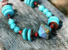Turquoise Necklace Boho Jewelry Ethnic by MayaHoneyJewelry on Etsy