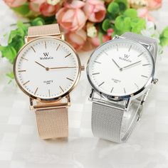 WOMAGE 699 Fashion Couple Quartz Watch Casual Rose gold Mesh Steel Band Wrist Watch