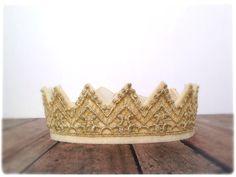 Metallic Gold Felt Lace Crown, Princess Costume, Photo Prop, Dress Up, Pretend Play, Birthday, Child, Adult, Wedding, Sweet 16