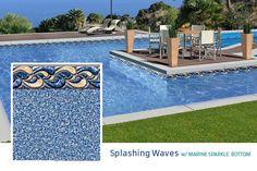 2015 Loop Loc Liner Options - Premier Pool & Spa - Splashing Waves w/Marine Squiggle Bottom
