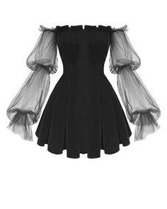 Gothic Off Shoulder Lantern Mesh Sleeve Mini Dress ROCK N DOLL Fashion doll Dress Gothic Lan Lantern mesh Mini rock Shoulder sleeve Mini Dress With Sleeves, Bell Sleeve Dress, Sleeved Dress, Pretty Dresses, Beautiful Dresses, Elegant Dresses, Sexy Dresses, Dresses Art, Formal Dresses