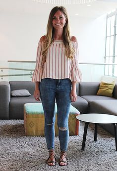 SS16's most popular off-the-shoulder top is the cropped, flared-sleeve style. It's totally transitional and perfect styled with blue-wash jeans.
