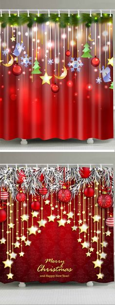 christmas shower curtains from Handmade Christmas Decorations, Xmas Decorations, Holiday Decor, Christmas Room, Christmas Crafts, Christmas Shower Curtains, Merry Christmas And Happy New Year, Backdrops For Parties, Christmas Background