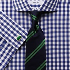 Navy gingham non-iron spread collar slim fit shirt | Slim fit dress shirts from Charles Tyrwhitt | CTShirts.com