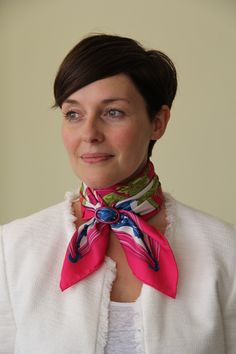 We love colour.  Hermès 70 cm Scarf and Liberatti Raspberry Wine Scarf Ring www.scarfring.com