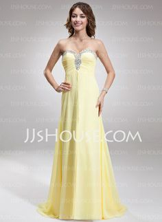 Evening Dresses - $146.99 - A-Line/Princess Sweetheart Sweep Train Chiffon Evening Dress With Ruffle Beading (017016879) http://jjshouse.com/A-Line-Princess-Sweetheart-Sweep-Train-Chiffon-Evening-Dress-With-Ruffle-Beading-017016879-g16879