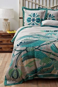 Cockatoo Bedding - I SERIOUSLY want this silk embroidered linen throw by Catherine Martin @ Anthropologie.