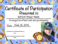 softball certificate