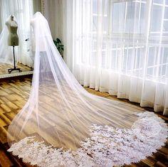 Afbeeldingsresultaat voor lange bruidssluier met kant