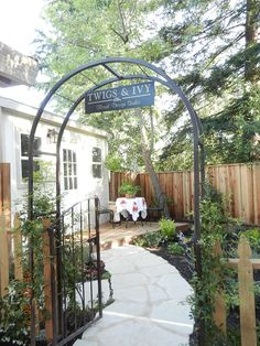 Our vintage wrought iron gate, (a former wedding prop),now reinvented as the studio entrance.