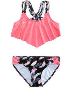 38dc553a231e9 A fun flounce detail adds a sweetly stylish touch to Malibu s two-piece  bikini