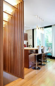 Vertical slats stairs wall