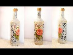 #31 decoupage lesson DIY decoupage bottles shabby chic decoupage on glass tutorial for beginners - YouTube