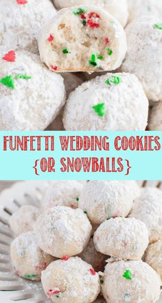 Italian Funfetti Wedding Cookies or Snowballs Healthy Dessert Recipes, Cookie Recipes, Desserts, Icing Recipes, Healthy Food, Christmas Cookie Exchange, Christmas Baking, Yummy Cookies, Christmas Cookies